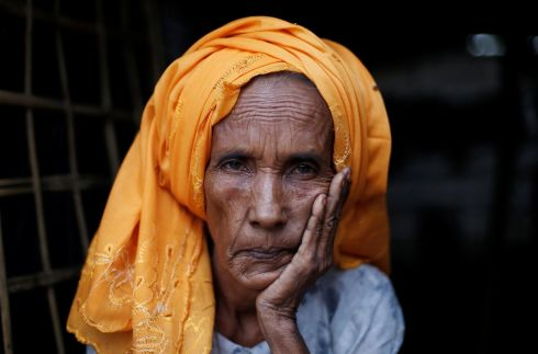 Fetema Khatun (55), on the doorstep of her shelter at Kutupalong refugee camp near Cox's Bazar. Photograph: Adnan Abidi/Reuters