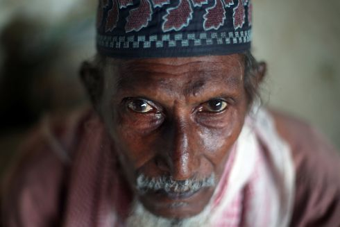 Sultan Ahamad (70), a Rohingya refugee who crossed the border from Myanmar this week, takes shelter at the Seagull Primary School in Kutupalong refugee camp.  Photograph: Hannah McKay/Reuters
