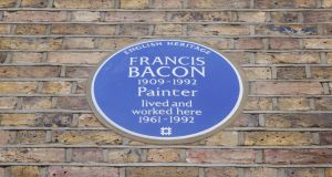 The  English Heritage blue plaque now placed on a home and studio in South Kensington, west London, where Francis Bacon lived from 1961 until his death in 1992. Photograph: Ripley Photography/English Heritage/PA Wire