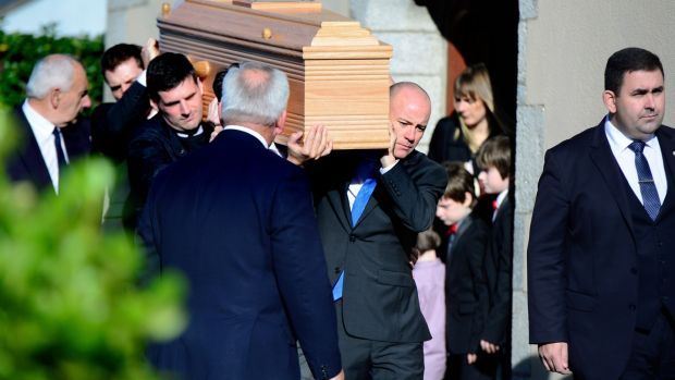 The funeral of film director Simon Fitzmaurice at St Kilian's Church, Blacklion, Greystones, today. Photograph: Cyril Byrne/The Irish Times