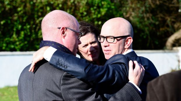 Fianna Fáil TD Stephen Donnelly (left) with digital artist Phil McDarby at the funeral of Simon Fitzmaurice at St Kilian's Church, Blacklion, Greystones. Photograph: Cyril Byrne/The Irish Times