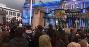 """Never again"" was  the message from the candlelight vigil outside Belfast City Hall, organised by Alliance for Choice and the Belfast Feminist Network to mark the fifth anniversary of Ms Halappanavar's death. Photograph: Amanda Ferguson"