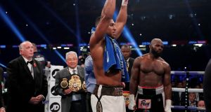 Anthony Joshua celebrates at the end the fight against Carlos Takam. Photograph: Reuters/Andrew Couldridge