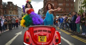 Thousands ake part in the 25th annual Belfast Pride parade on August 1st, 2015 in Belfast, Northern Ireland. Photograph: Charles McQuillan/Getty Images