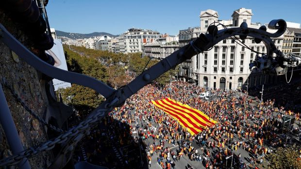 Pro-unity supporters take part in a demonstration in central Barcelona. Photograph: Yves Herman/Reuters