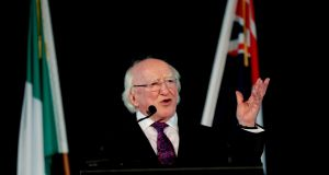 President Higgins speaking on the last day of his State visit to New Zealand. Photograph: Maxwells