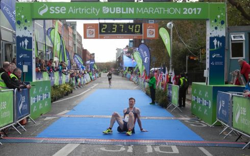 Killian Nolan from Dublin during the SSE Airtricity Marathon in Dublin's city centre. Photograph: Gareth Chaney Collins