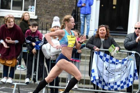 Nataliya Lehonkova (Ukraine)  striding out to win  the womans elite field in the Dublin SSE Airtricity Marathon. Photograph: Cyril Byrne/The Irish Times