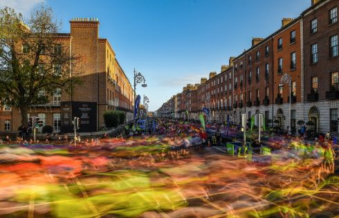 A view of the 20,000 runners who took to the Fitzwilliam Square start line to participate in the 38th running of the SSE Airtricity Dublin Marathon. Photograph: Ramsey Cardy/Sportsfile