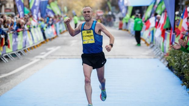 Gary O'Hanlon of Clonliffe Harriers A.C thought he had won the Irish title. Photo: Ryan Byrne/Inpho