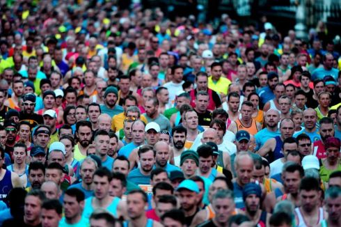 Competitors at the start during the Dublin SSE Airtricity marathon,yesterday Photograph: Cyril Byrne/The Irish Times