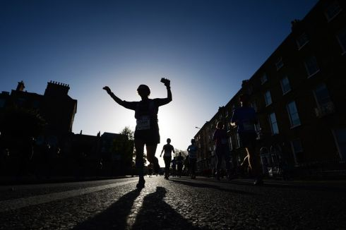 Runners during the start of the Dublin SSE Airtricity marathon.Photograph: Cyril Byrne/The Irish TImes