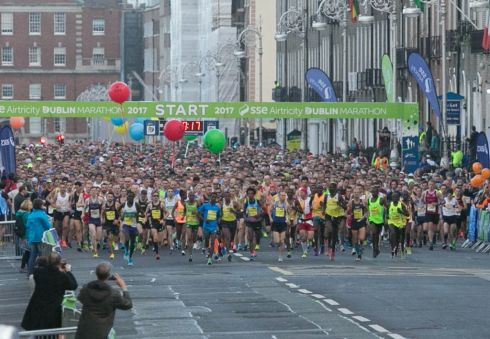 Runners during the SSE Airtricity Marathon in Dublin. Photograph: Gareth Chaney/Collins