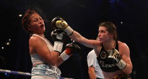Katie Taylor lands a right hand on Anahi Esther Sanchez during their WBA World Female Lightweight Title bout at the Principality Stadium in Cardiff.  Photograph: Nick Potts/PA Wire