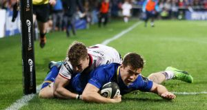 Leinster's Luke McGrath scores a try against Ulster at the Kingspan Stadium. Photograph: Darren Kidd/Inpho