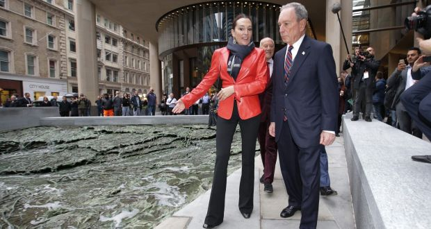 Spanish artist Cristina Iglesias and Bloomberg CEO Michael Bloomberg  at the launch of Bloomberg's new European headquarters in  London. Photograph:  Getty Images