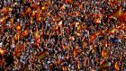 The relatively muted response so far from the Catalan nationalist leadership to direct rule is puzzling, especially in the wake of declaring themselves 'independent'. Pro-union Catalans, with their huge demonstration in Barcelona on Sunday (above), actually appear better organised. Photograph: Rafael Marchante/Reuters