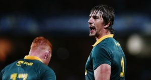 Eben Etzebeth will lead South Africa on their tour of Europe. Photograph:  Anthony Au-Yeung/Getty