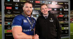 Leinster forward Sean O'Brien receives his man of the  match award after his impressive display in the victory over Ulster. Photograph:  Billy Stickland/Inpho