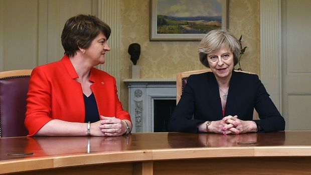 DUP leader Arlene Foster and prime minister Theresa May. Politics is not happening in the North, and this at a time when the DUP has extracted an additional £1bn from the Tories to prop up May's government