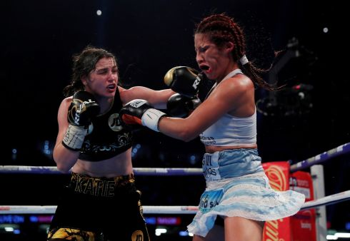 VICTORIOUS BOUT: Katie Taylor during her victorious bout against Anahi Esther Sanchez in the WBA Womens World Lightweight boxing title at Principality Stadium, Cardiff, Wales. Photograph: Andrew Couldridge/Action Images/Reuters