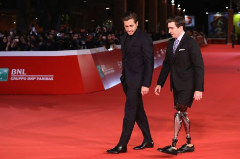 RED CARPET: Jake Gyllenhaal and Jeff Bauman on the red carpet for a screening of Stronger during the 12th Rome Film Fest at Auditorium Parco Della Musica in Rome, Italy. Photograph: Vittorio Zunino Celotto/Getty Images