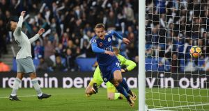 Jamie Vardy scored Leicester City's opener against Everton. Photograph: Shaun Botterill/Getty