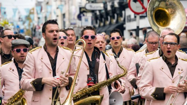 The OhnO! Jazz Band from the Netherlands at The Guinness Cork Jazz Festival Parade in Cork city centre. Photograph: Daragh Mc Sweeney/Provision