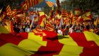 Pro-unity supporters take part in a demonstration in central Barcelona on  October 29th. Photograph: Jon Nazca/Reuters