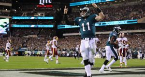 Carson Wentz threw for two touchdowns as the NFL-leading Philadelphia Eagles beat the San Francisco 49ers. Photograph: Elsa/Getty