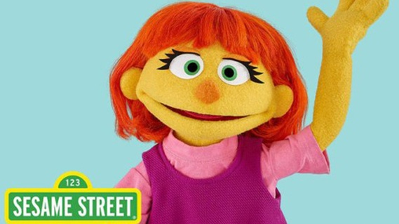 Julia, a character with autism and a new addition to the Sesame Street gang