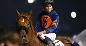Joel Rosario on  Mind Your Biscuits   after winning the Dubai Golden Shaheen   this year. Photograph: Francois Nel/Getty