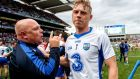 Waterford manager Derek McGrath celebrates with Philip Mahony after victory over Cork in the All-Ireland semi-final. Photograph: James Crombie/Inpho