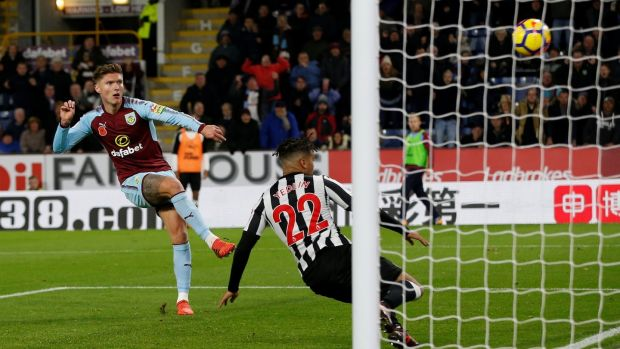 Jeff Hendrick scores Burnley's winner against Necastle. Photograph: Andrew Yates/Reuters