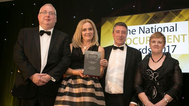 Jeanne Copeland, CEO, Greenville Procurement Partners presents the Procurement Team of the Year award to Colm O'Cleirigh, Grainne McGonagle and Michael Doyle, Office of Government Procurement