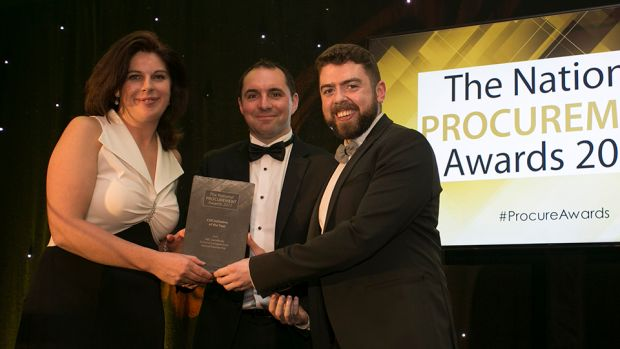 Chris Mooney, Codex Office Solutions presents the CSR Initiative of the Year award to Anna-Marie Curran, A&L Goodbody & Patrick Sweeney, SEI.