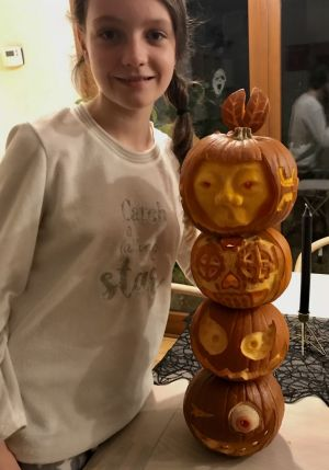 """Trick or treat totem"" by Mya and Marcus Lynam"