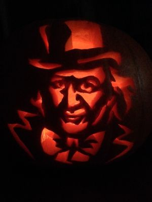 """Willy Wonka"" by Ethel Murphy in Co Kilkenny, who has been carving pumpkins and turnips for 30 years."