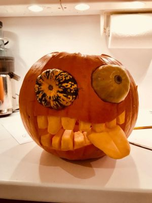 """Percy Pumpkin"" by Suzanne Nagle, with assistance from Jimmy and Dasha in Waterford"