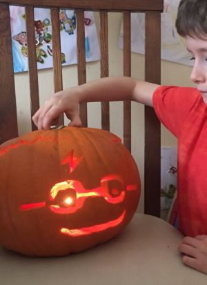"""Harry Pumpkinter"" sent in by Mark Tighe. ""My 6-year-old Finn makes Harry Potter into a pumpkin, complete with glasses and glowing scar."""