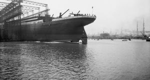 Launch of the Titanic with its port stern entering the water at Harland & Wolffe Shipyards, Belfast,  May 31st, 1911