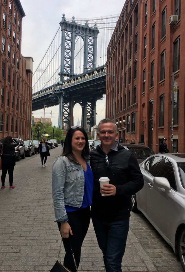 Cathal Dolan and his friend Jesi Russel in Brooklyn