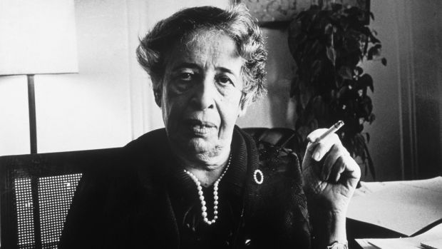 German-born American political thinker, teacher and writer Hannah Arendt: said the ideal subjects of totalitarian rule were people for whom the distinction between fact and fiction and between true and false no longer existed. Photograph: Tyrone Dukes/New York Times/Getty