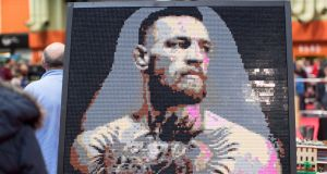 Conor McGregor made out of Lego  in Birmingham, England. McGregor has apologised for using the word 'faggot' in a recent clip. Photograph: Aaron Chown/PA Wire