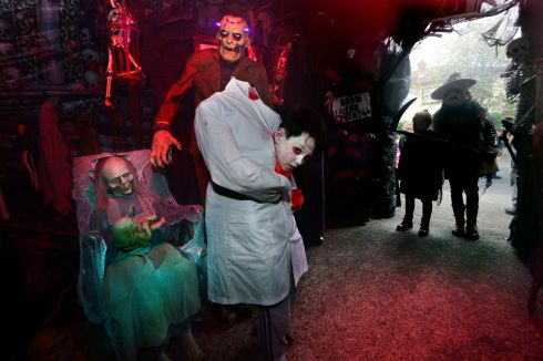 Niall Meghen at the house of horrors built by Ken Carraher at his home in Bayview Court in  aid of Debra Ireland for children with Epidermolysis Bullosa, a rare skin condition. Photograph: Cyril Byrne/The Irish Times