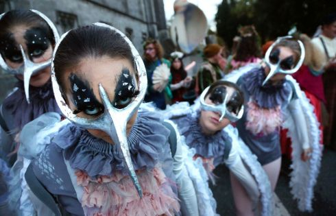 Dancers taking part in the Macnas Halloween parade, in Galway city on Sunday evening. Photograph: Joe O'Shaughnessy