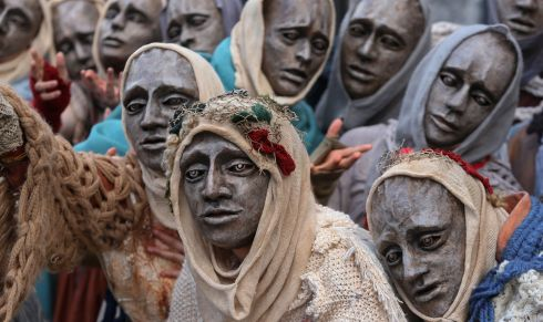 'The Ancestors' gather at the annual Macnas Halloween parade, in Galway city centre. Photograph: Joe O'Shaughnessy