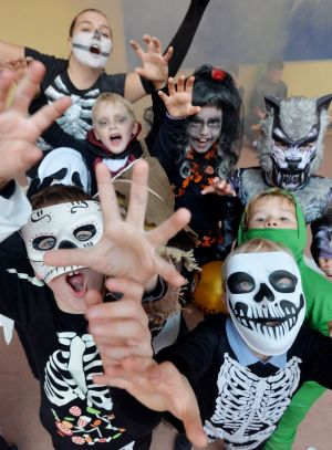 Children from Dunboyne Junior Primary School enjoy a spooky disco during a Halloween fancy dress day on the last day of school before the mid-term break. Photograph: Alan Betson/The Irish Times