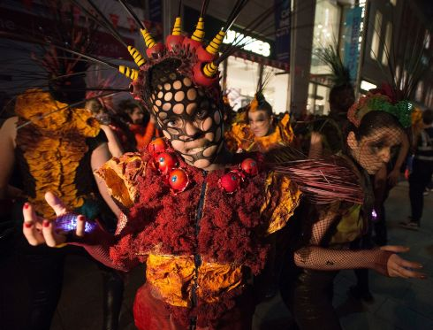 The Macnas parade in Dublin on Monday night. Photograph: Dave Meehan/The Irish Times
