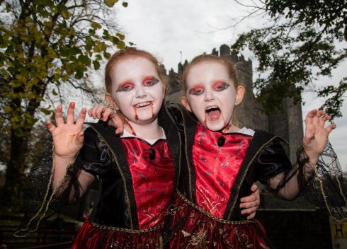Enjoying the Halloween holiday horror fun at Bunratty Castle were seven-year-old twins, Hollie and Lexie Moloney-Hayes, from Newmarket on Fergus, Co Clare. Photograph: Alan Place